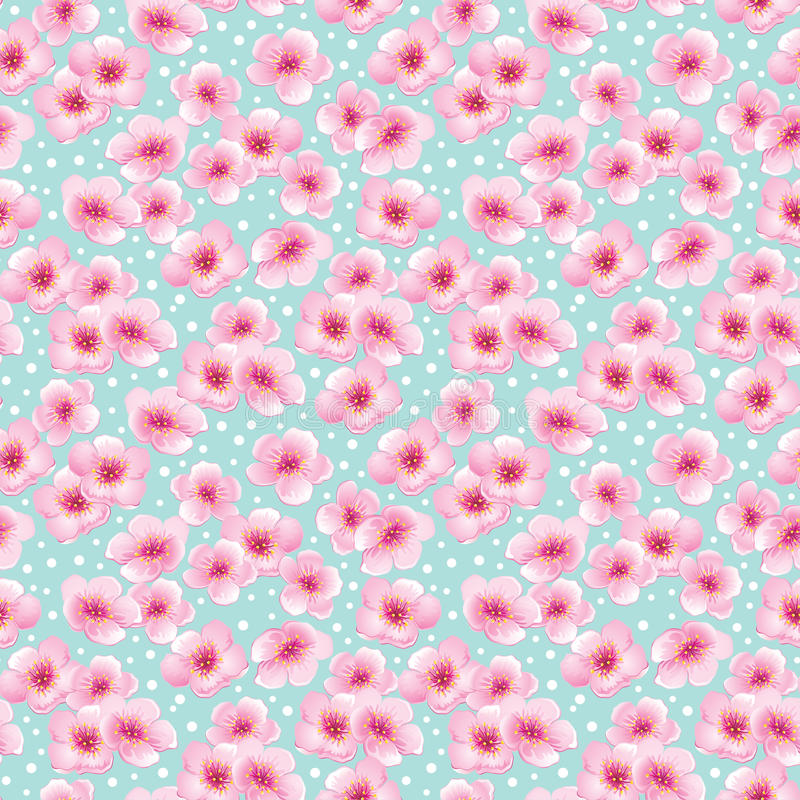 Άνευ ραφής σχέδιο άνοιξη με τα λουλούδια ανθών διανυσματική απεικόνιση