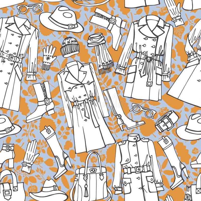 Άνευ ραφής σχέδιο ένδυσης μόδας Φθινόπωρο, χειμώνας, διανυσματική απεικόνιση