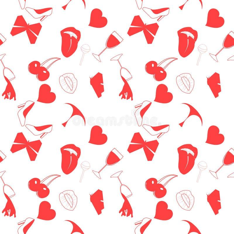 Άνευ ραφής σχέδιο αγάπης στο ύφος doodle στοκ εικόνες