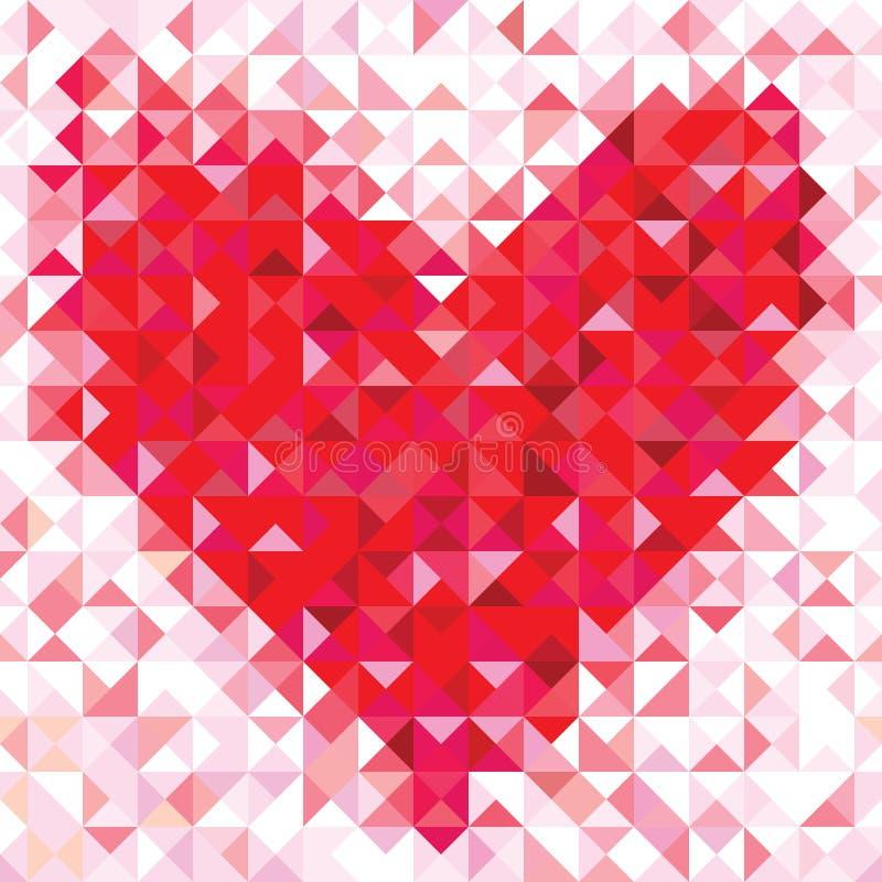 Άνευ ραφής σχέδιο αγάπης της γεωμετρικής καρδιάς διανυσματική απεικόνιση