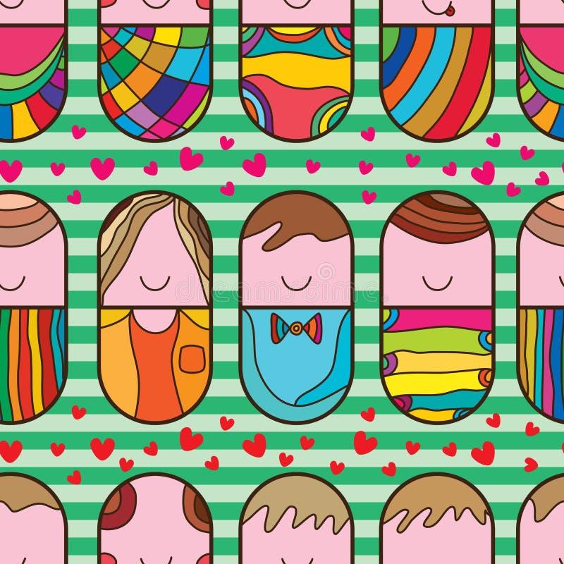 Άνευ ραφής σχέδιο αγάπης χαπιών χαριτωμένο ελεύθερη απεικόνιση δικαιώματος