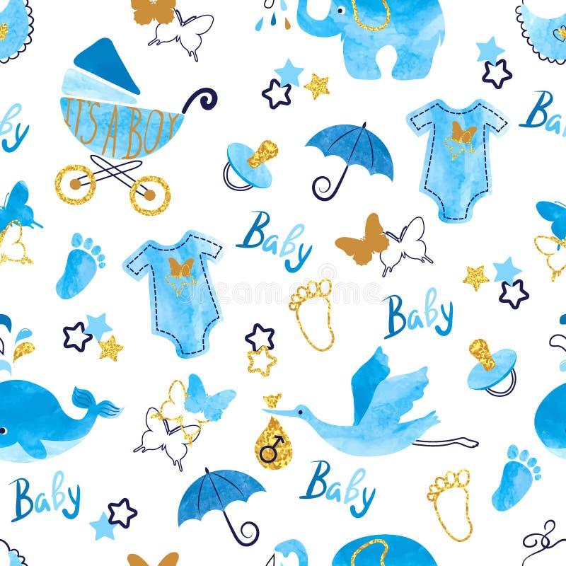 Άνευ ραφής σχέδιο αγοριών ντους μωρών απεικόνιση αποθεμάτων