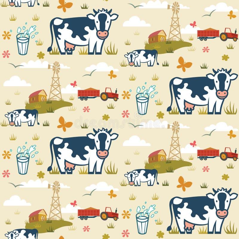 Άνευ ραφής σχέδιο αγροτικών αγελάδων απεικόνιση αποθεμάτων