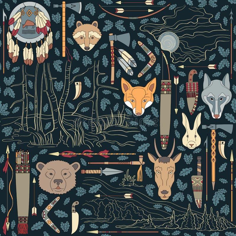 Άνευ ραφής σχέδιο αμερικανών ιθαγενών με τη νύχτα landsc απεικόνιση αποθεμάτων