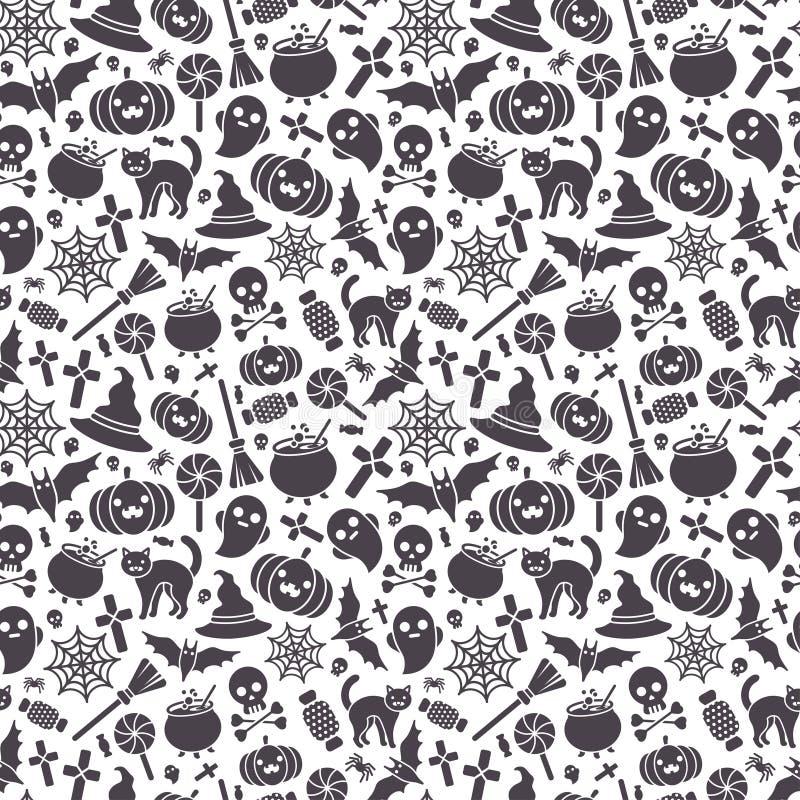 Άνευ ραφής σχέδιο αποκριών - μαύρα εικονίδια στο λευκό διανυσματική απεικόνιση
