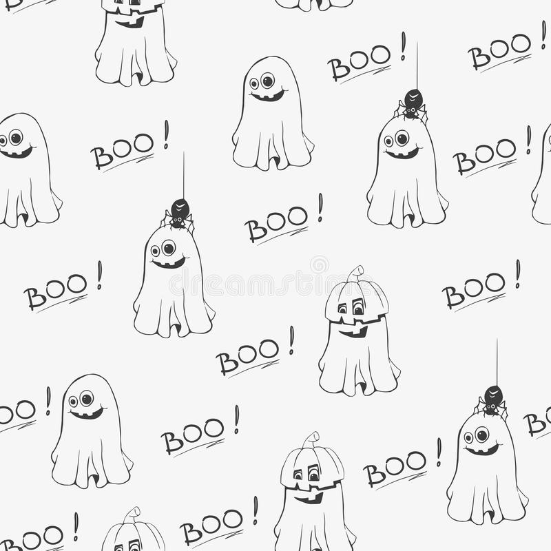 Άνευ ραφής σχέδιο αποκριών με τα χαριτωμένα φαντάσματα και το κείμενο Boo Συρμένη χέρι διανυσματική απεικόνιση ελεύθερη απεικόνιση δικαιώματος