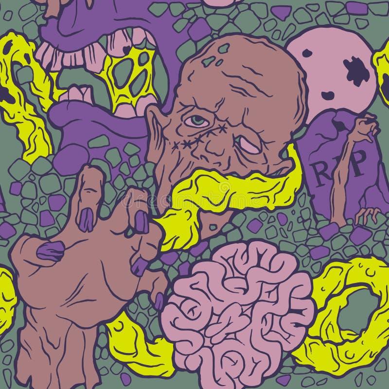 Άνευ ραφής σχέδιο αποκριών με το zombie διανυσματική απεικόνιση