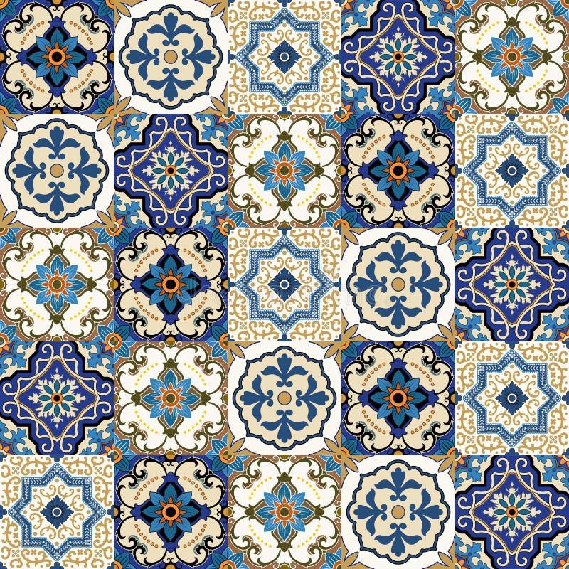 Άνευ ραφής σχέδιο από τα ζωηρόχρωμα floral μαροκινά, πορτογαλικά κεραμίδια, Azulejo, διακοσμήσεις ελεύθερη απεικόνιση δικαιώματος