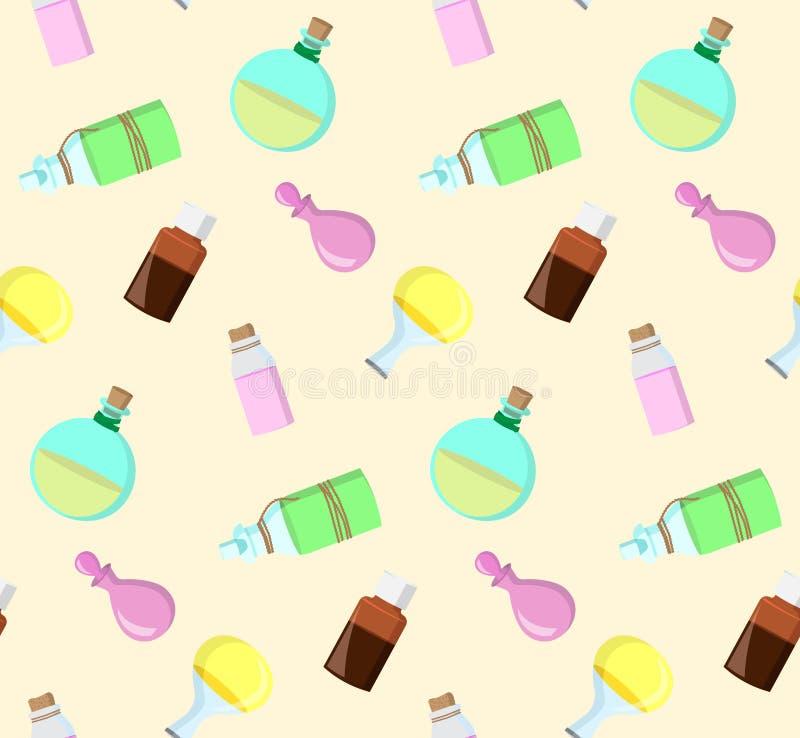 Άνευ ραφής σχέδιο από τα μπουκάλια ελεύθερη απεικόνιση δικαιώματος