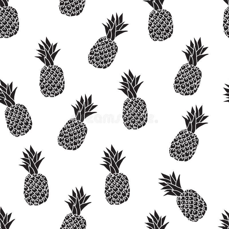 Άνευ ραφής σχέδιο από τους ανανάδες, το γραπτό στρέθιμο της προσοχής σε ένα άσπρο υπόβαθρο στοκ εικόνα με δικαίωμα ελεύθερης χρήσης