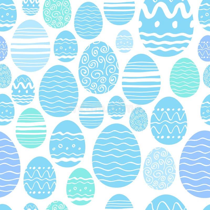 Άνευ ραφής σχέδιο αυγών Πάσχας στο μπλε χρώμα διανυσματική απεικόνιση
