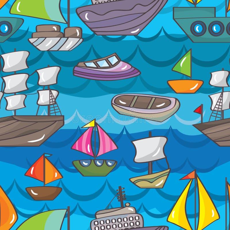 Άνευ ραφής σχέδιο βαρκών σκαφών απεικόνιση αποθεμάτων