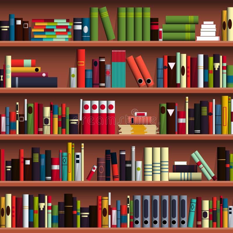 Άνευ ραφής σχέδιο βιβλιοθηκών ραφιών βιβλίων ελεύθερη απεικόνιση δικαιώματος