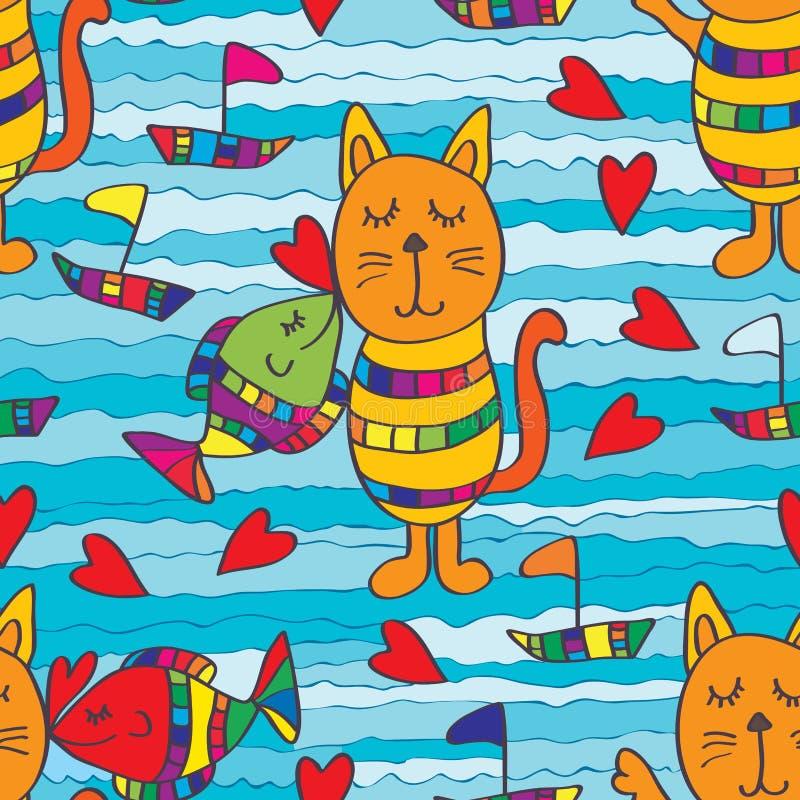 Άνευ ραφής σχέδιο γατών φιλιών ψαριών απεικόνιση αποθεμάτων