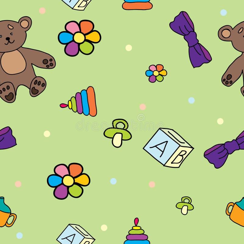 Άνευ ραφής σχέδιο για τα παιδιά με τα παιχνίδια απεικόνιση αποθεμάτων
