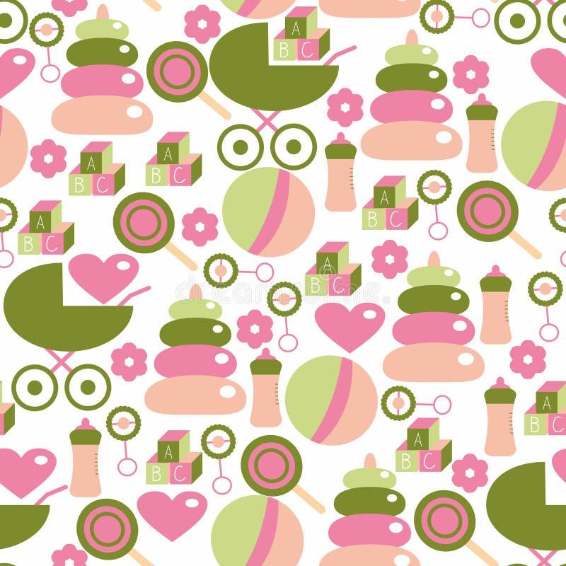 Άνευ ραφής σχέδιο για το κοριτσάκι Προσωπικό παιδιών στο ροζ και πράσινος διανυσματική απεικόνιση