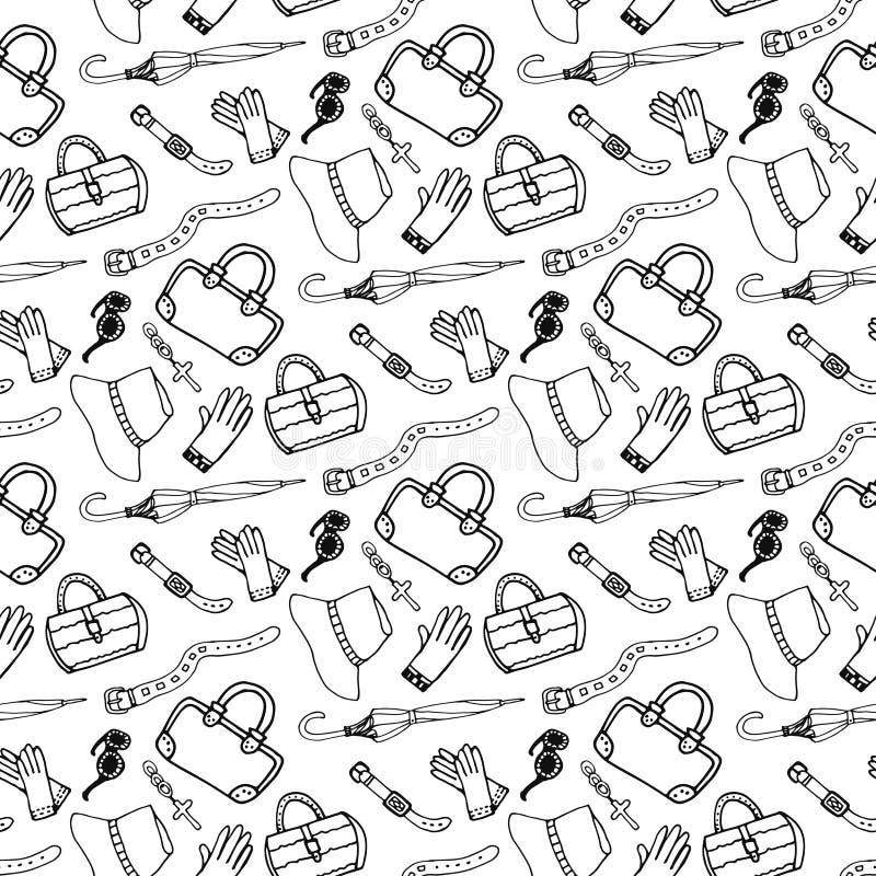 Άνευ ραφής σχέδιο εξαρτημάτων και τσαντών μόδας κοριτσιών Doodle συρμένο χέρι ελεύθερη απεικόνιση δικαιώματος