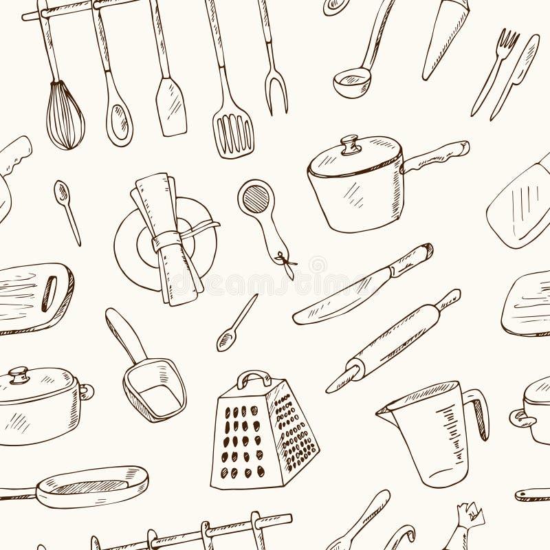 Άνευ ραφής σχέδιο εργαλείων κουζινών Doodle - διανυσματική απεικόνιση διανυσματική απεικόνιση