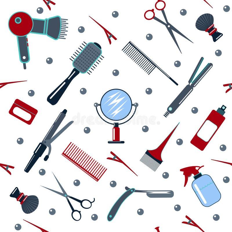Άνευ ραφής σχέδιο εργαλείων κουρέων και κομμωτών απεικόνιση αποθεμάτων