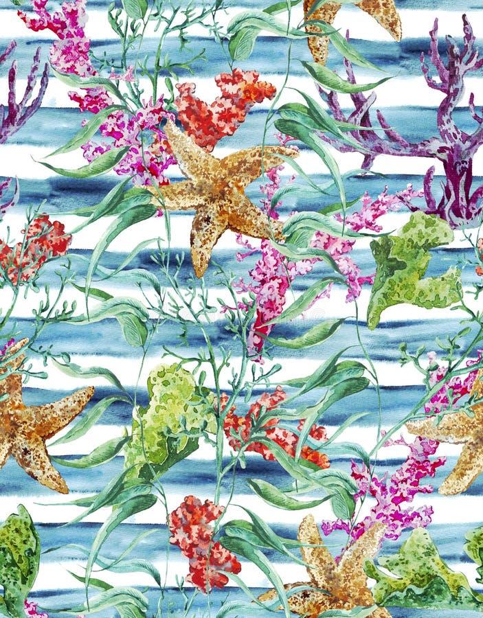 Άνευ ραφής σχέδιο ζωής θάλασσας Watercolor με το φύκι διανυσματική απεικόνιση