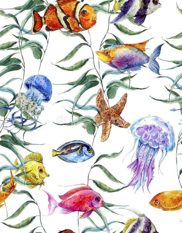 Άνευ ραφής σχέδιο ζωής θάλασσας Watercolor, υποβρύχιο ελεύθερη απεικόνιση δικαιώματος