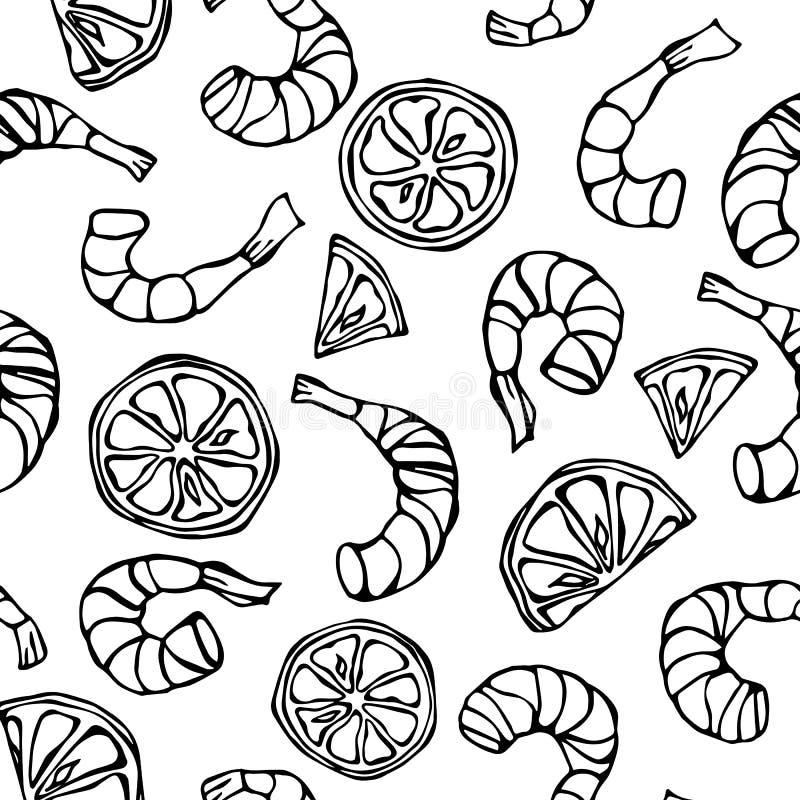 Άνευ ραφής σχέδιο θαλασσινών Υπόβαθρο γαρίδων ή γαρίδων και λεμονιών Απομονωμένος σε έναν άσπρο τρύγο κινούμενων σχεδίων Doodle υ απεικόνιση αποθεμάτων