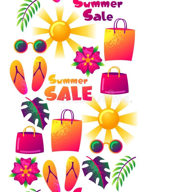 Άνευ ραφής σχέδιο θερινής πώλησης με τα ζωηρόχρωμα στοιχεία Ήλιος, φύλλα φοινικών και τσάντες αγορών απεικόνιση αποθεμάτων