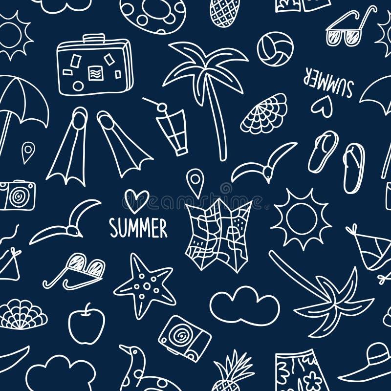 Άνευ ραφής σχέδιο θερινών διακοπών doodle απεικόνιση αποθεμάτων