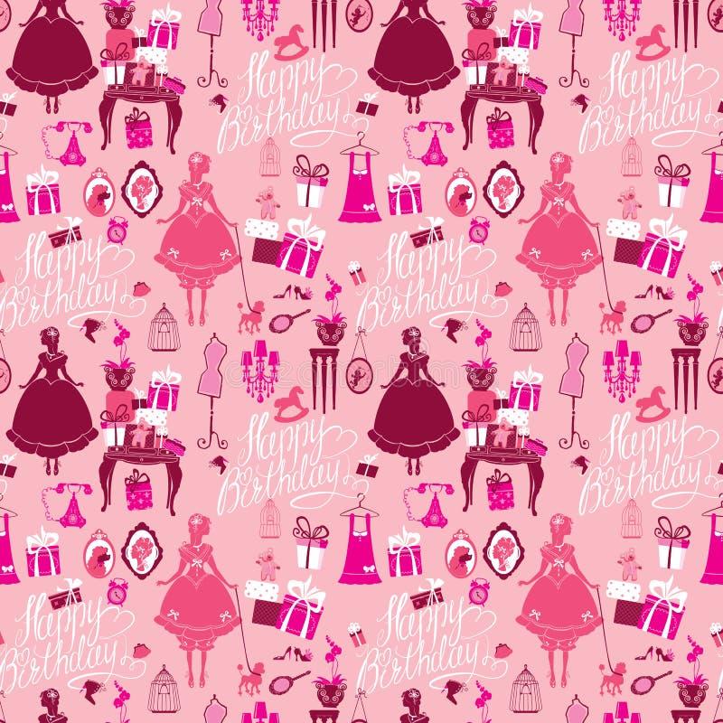 Άνευ ραφής σχέδιο διακοπών για τα κορίτσια Δωμάτιο πριγκηπισσών - γοητεία acce ελεύθερη απεικόνιση δικαιώματος