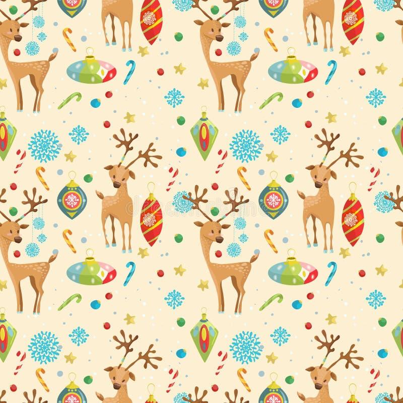Άνευ ραφής σχέδιο διακοπών Χριστουγέννων με τον τάρανδο, snowflakes και ελεύθερη απεικόνιση δικαιώματος