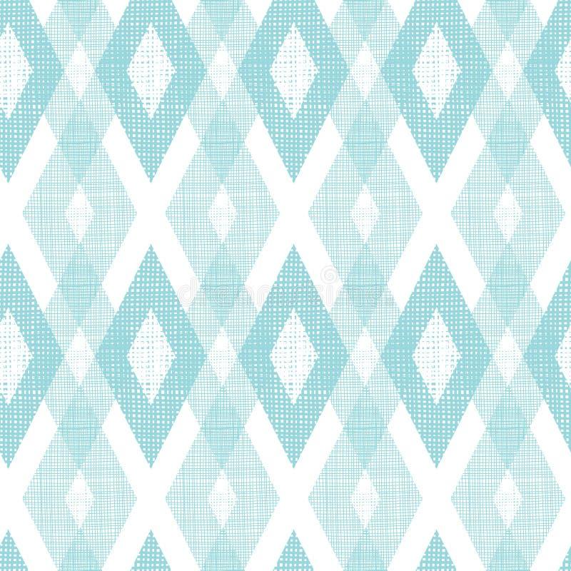 Άνευ ραφής σχέδιο διαμαντιών υφάσματος κρητιδογραφιών μπλε ikat ελεύθερη απεικόνιση δικαιώματος