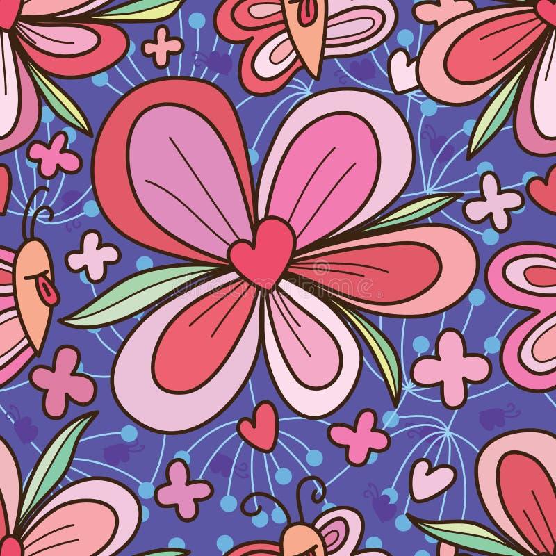 Άνευ ραφής σχέδιο καρδιών αγάπης λουλουδιών επιθυμίας πεταλούδων απεικόνιση αποθεμάτων