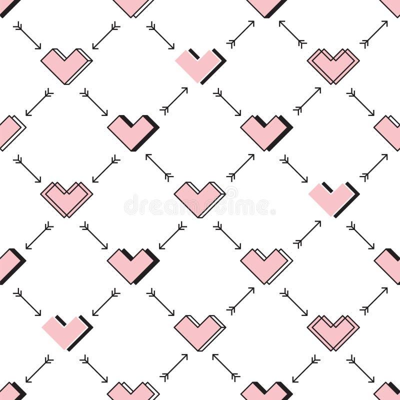 Άνευ ραφής σχέδιο καρδιών και βελών ρομπότ αγάπης απεικόνιση αποθεμάτων