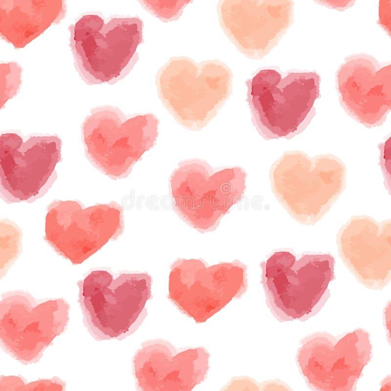 Άνευ ραφής σχέδιο καρδιών watercolor ελεύθερη απεικόνιση δικαιώματος