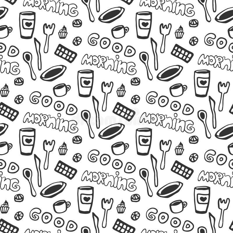 Άνευ ραφής σχέδιο καλημέρας Διανυσματικό άνευ ραφής σχέδιο με τα φλυτζάνια τσαγιού doodle, το πιάτο, τη σοκολάτα, το κουτάλι και  ελεύθερη απεικόνιση δικαιώματος