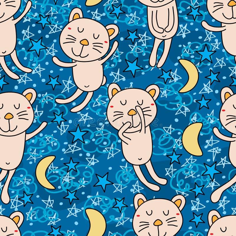 Άνευ ραφής σχέδιο καληνύχτας γατών ελεύθερη απεικόνιση δικαιώματος