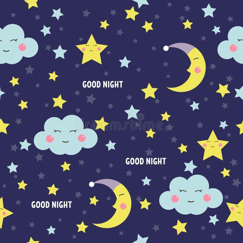 Άνευ ραφής σχέδιο καληνύχτας με το χαριτωμένο φεγγάρι, τα αστέρια και τα σύννεφα ύπνου Γλυκό υπόβαθρο ονείρων επίσης corel σύρετε απεικόνιση αποθεμάτων