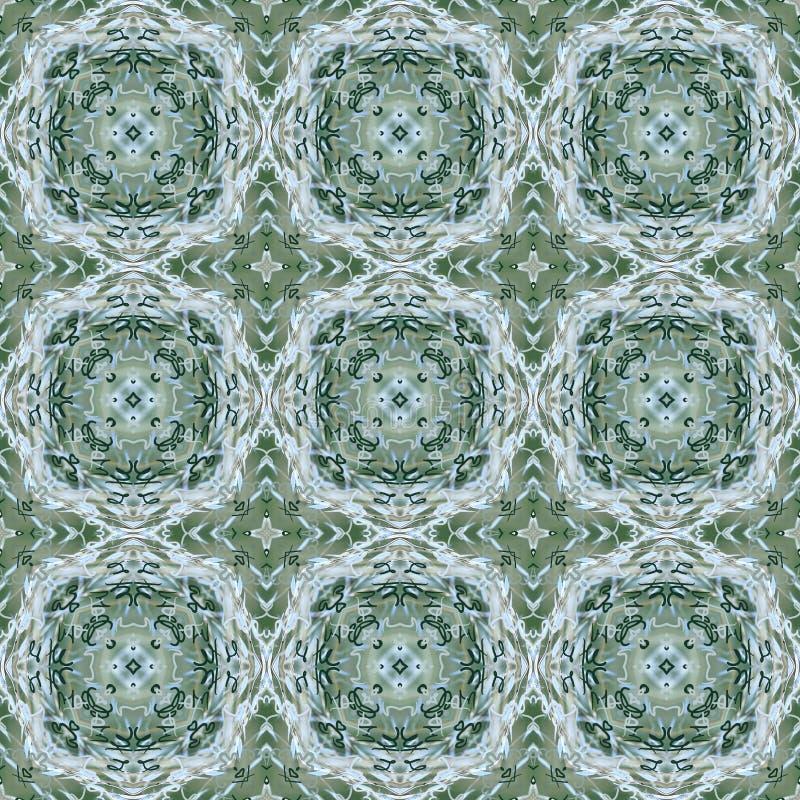 Άνευ ραφής σχέδιο καλλιγραφίας στις σκιές πράσινος και ασημένιος απεικόνιση αποθεμάτων