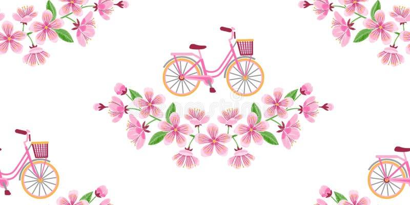 Άνευ ραφής σχέδιο κεντητικής ανθών ποδηλάτων και κερασιών διανυσματική απεικόνιση