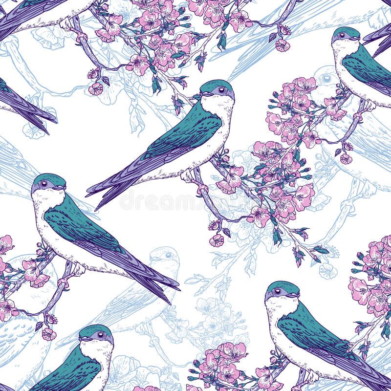 Άνευ ραφής σχέδιο κερασιών άνοιξη με τα πουλιά απεικόνιση αποθεμάτων