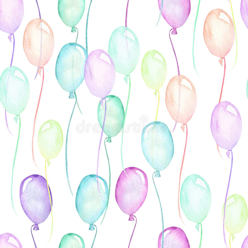 Άνευ ραφής σχέδιο κομμάτων με τα πολύχρωμα μπαλόνια αέρα απεικόνιση αποθεμάτων