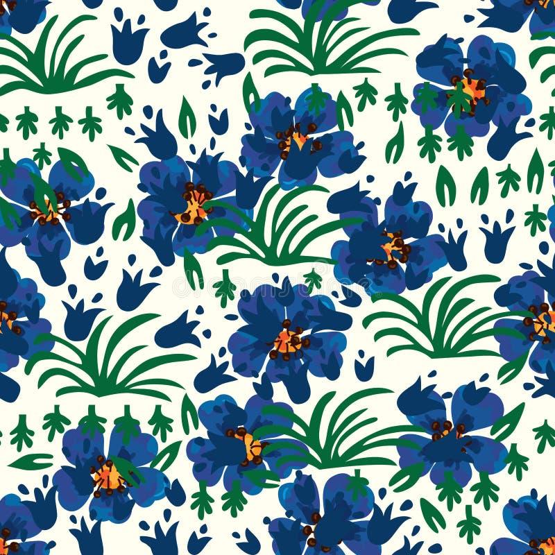 Άνευ ραφής σχέδιο κουδουνιών Anemone μπλε διανυσματική απεικόνιση