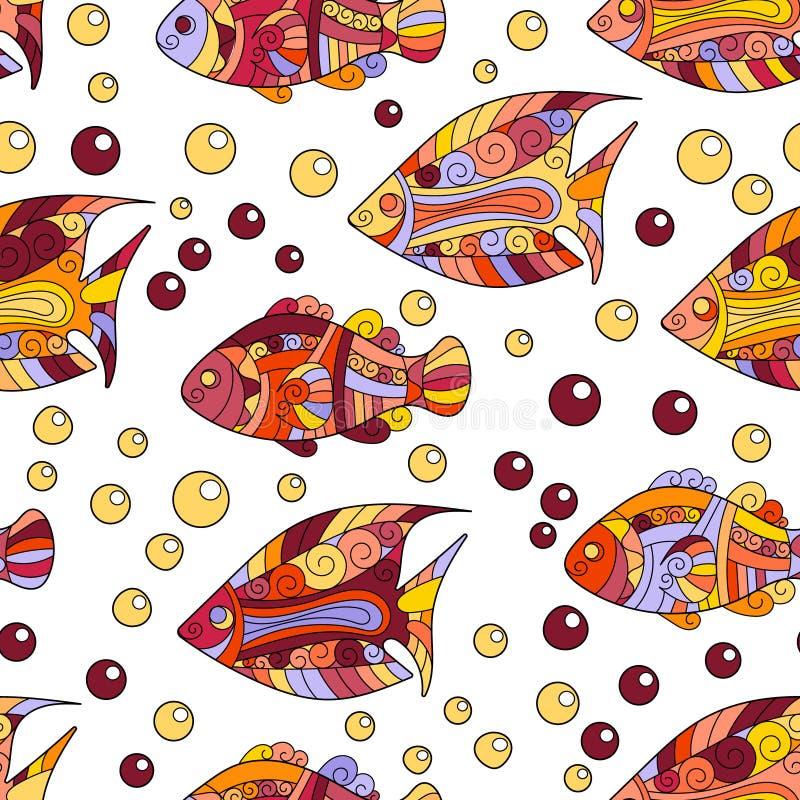 Άνευ ραφής σχέδιο κοχυλιών θάλασσας Zentangle τυποποιημένο Συρμένη χέρι υδρόβια διανυσματική απεικόνιση doodle Ωκεάνια ζωή Κοχύλι διανυσματική απεικόνιση