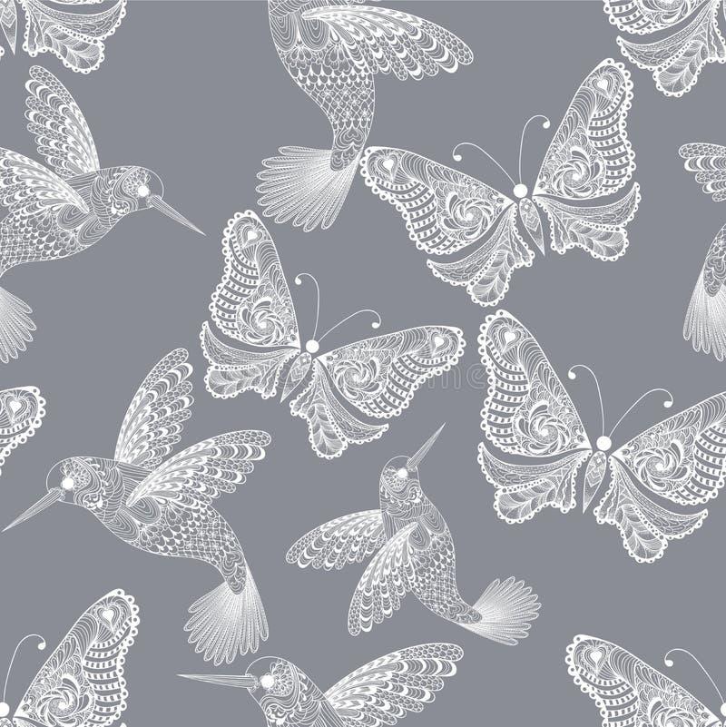 Άνευ ραφής σχέδιο κολιβρίων και πεταλούδων Zentangle τυποποιημένο απεικόνιση αποθεμάτων