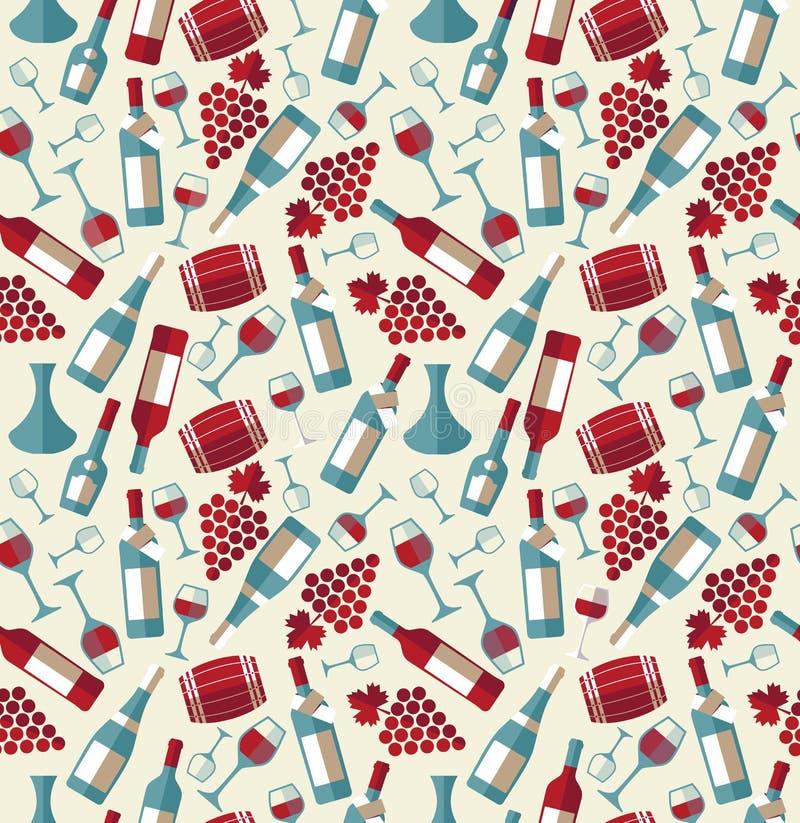Άνευ ραφής σχέδιο κρασιού με το biootle και το γυαλί απεικόνιση αποθεμάτων
