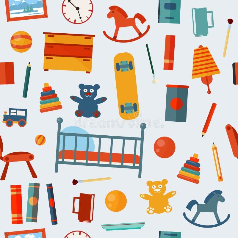 Άνευ ραφής σχέδιο κρεβατοκάμαρων παιδιών με τα παιχνίδια ελεύθερη απεικόνιση δικαιώματος