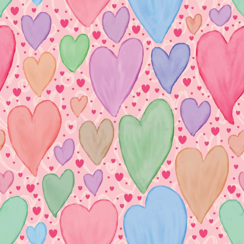 Άνευ ραφής σχέδιο κρητιδογραφιών watercolor αγάπης χρωμάτων απεικόνιση αποθεμάτων