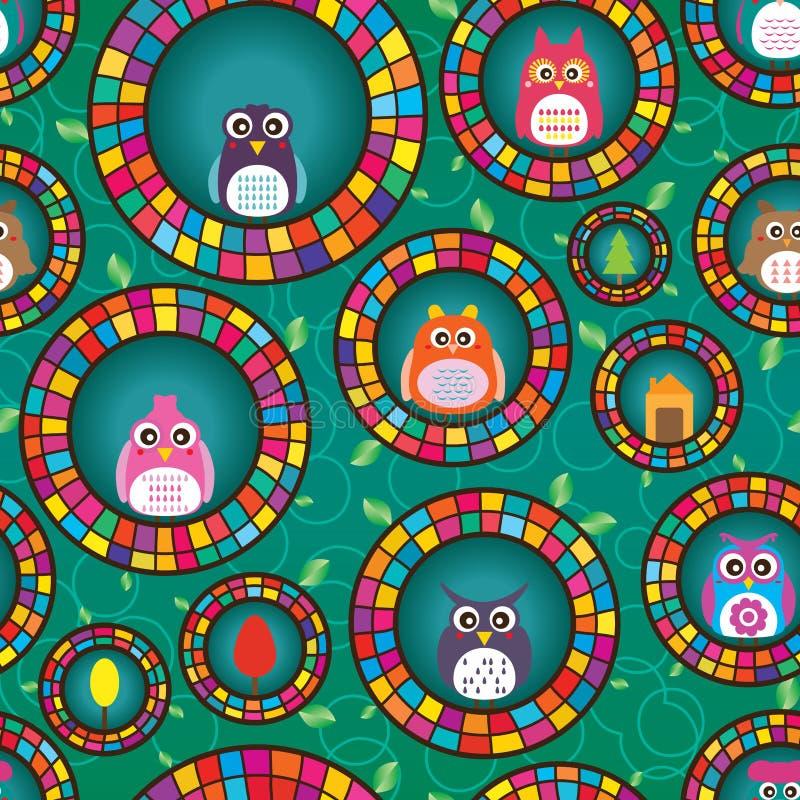Άνευ ραφής σχέδιο κύκλων κουκουβαγιών ελεύθερη απεικόνιση δικαιώματος