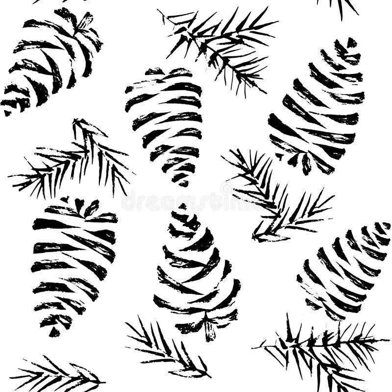 Άνευ ραφής σχέδιο κώνων πεύκων Τύλιγμα δώρων Χριστουγέννων Διάνυσμα άρρωστο απεικόνιση αποθεμάτων