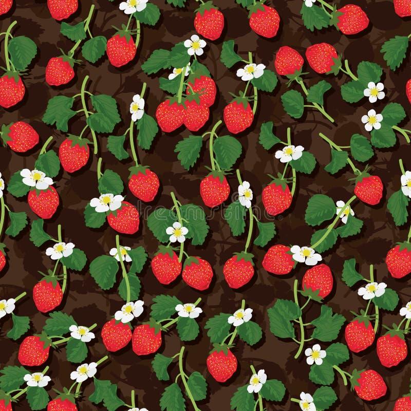 Άνευ ραφής σχέδιο κλάδων φρούτων φραουλών ελεύθερη απεικόνιση δικαιώματος